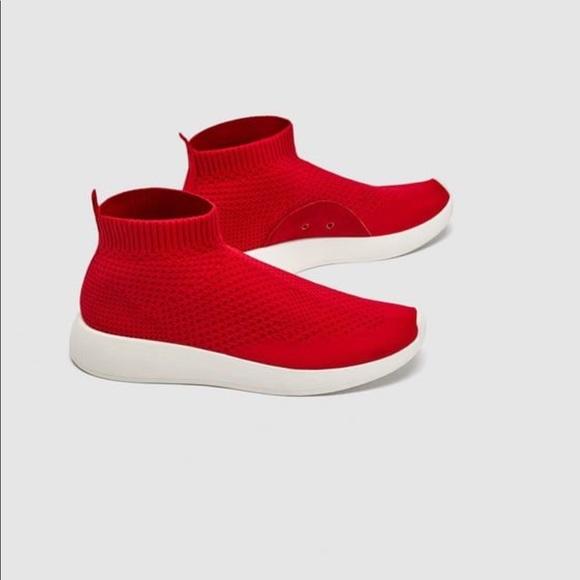 Red Zara Sock Sneakers Trainers